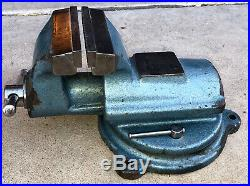 5 Bison FPU Machinist's Bench Vise with swivel base nice shape, great paint