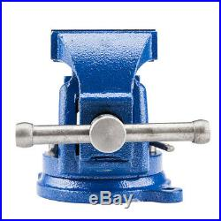 5 Mechanic Bench Vise Top Clamp Press Locking Swivel Base Heavy Duty Tool Blue