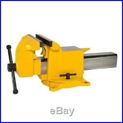 5 in. Bench Vise High Visibility Utility Workshop Vice Swivel Base Yellow Clamp