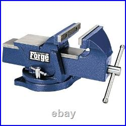 6 Bench Vise With Large Anvil Swivel Base Locking Replaceable Forged Steel Jaws