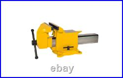 8 in. Bench Vise High Visibility Utility Workshop Vice Swivel Base Yellow Clamp