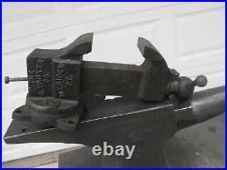 Antique 1906 Chas. Parker 229 Machinist Bench Vise with Swivel Base USA