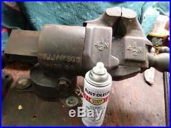 Antique BLACKSMITH VISE. Rotating Jaws, Swivel Base Willamson 4 1/2'' Jaws