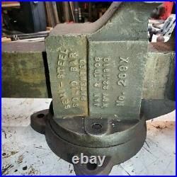 Antique Chas. Charles Parker Swivel Base Huge Vise 5.5 Jaws, 30 long, 148 lbs