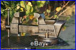 COLUMBIAN 4'' JAW BENCH VISE WithSWIVEL BASE & PIPE GRIPS, CLEVELAND, OH. 27 LBS VICE