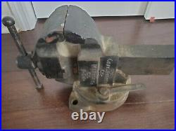Chas Parker 974 Bench Vise 4 Jaws USA Made Swivel Base Original Lock Wrench