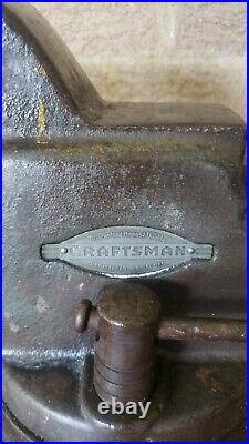 EXC 1950 CRAFTSMAN 5196 SWIVEL BASE BENCH VISE 4 JAWS VISE DATED 2/50 60lbs