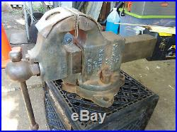 LARGE BENCH VISE CHAS. PARKER CO 85Lb #249X Solid Bar Swivel Base with Soft Jaws
