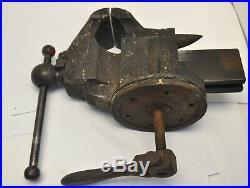 Meriden Pat 1867 PARKER 3 1/2 Jaw Anvil Vise with Complete Swivel Post Base