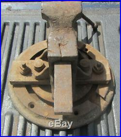 Rare Lewis 3 Double slide Bench Vice W /Ex Large 10 1/2 Dia. Swivel Base