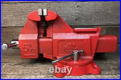 Rare Mac Tools 5-1/2 Bench Vise with Swivel Base & Pipe Jaws Never Used