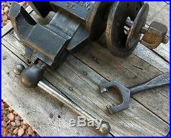 Rare No 21 Parker 3-1/4 Jaw Anvil Vise with Complete Swivel Post Base Pat 1867