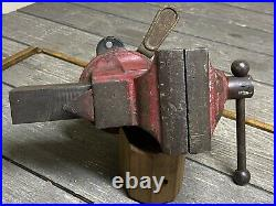 Rare Vintage Luther No. 73-1/2 Bench Clamp Swivel Base Vise All Original 3-3/4