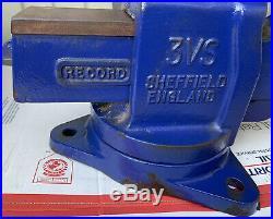 Record 3vs Sheffield England Heavy Duty Swivel Base Machinist 4 Bench Vise