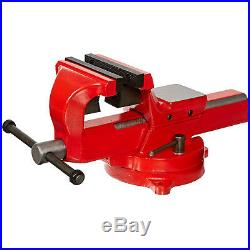 Red 5in Jaw Bench Vise Anvil Steel Body Swivel Base Table Top Pipe Clamp 6300lb