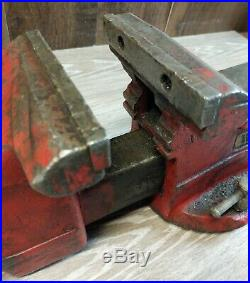 Red Vintage Wilton Vise Anvil No Swivel Base Jaw Width 5 Jaw Opening 5 1/2