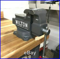 Refurbished Vintage USA 5 Wilton 645 Workbench Vise with Pipe Jaws & Swivel Base