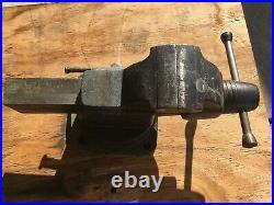 Vintage 1952 Craftsman 3-1/2 Vise 05185 Made Works Great Swivel Base Machinist