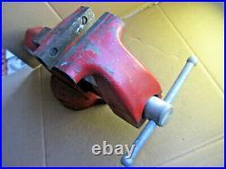 Vintage Bench Vise Made By LS Starrett Athol Mass 014 W Swivel Base 4 Jaws USA