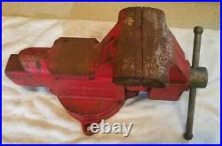Vintage COLUMBIAN D45 Bench Vise with Swivel Base 5 Jaws, EXCELLENT Free Shipping