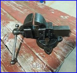 Vintage Charles Parker No. 202 3 Jaws Bench Vise With Swivel Base 27lbs