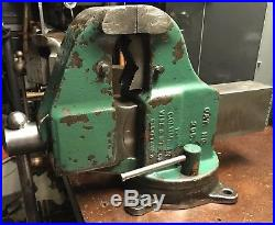 Vintage Columbian 205 5 Bench Pipe Vise Swivel Base Massive 93Lbs! Good Cond