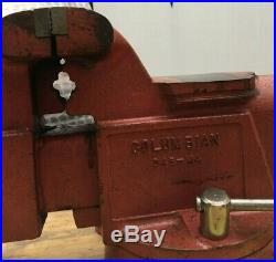 Vintage Columbian 5 Bench Vise With Swivel Base And Pipe Jaw Made In USA