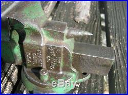 Vintage Parker 2 1/2 Vise 492 1/2 Small Bench Vise with Swivel Base