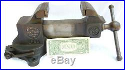 Vintage Prentiss Vise Bull Dog 522 512 Swivel Base 3 Inch Jaws Machinist Tool VG