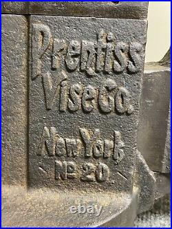Vintage Prentiss Vise No. 20 Swivel Base Swivel Jaw 4-1/2 Original Patina