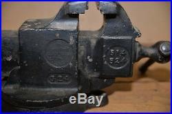 Vintage Prentiss bulldog vise # 524 blacksmith machinist 4 jaws swivel base 50#