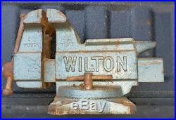 Vintage WILTON 645 Bench Top Vise 5 Jaws Anvil Swivel Base