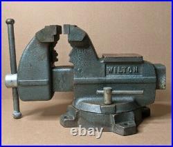 Vintage Wilton Bench Vise 4x5.25 Jaw Swivel Base Pipe Vise Anvil Mechanics USA
