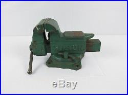Vintage Wilton Tradesman Anvil Vise 3-1/2 Jaws Swivel Base Green Bench Vise