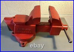 Vtg CLEVELAND COLUMBIAN D45 VISE Swivel Base BENCH VISE 5 Pipe Jaws Anvil Horn